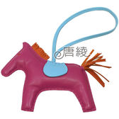 【Hermes 愛馬仕】RODEO MM馬兒造型拼色小羊皮鑰匙圈/吊飾(大-紫X橘 H064931CA)