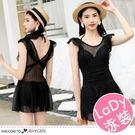 韓版女孩性感蕾絲遮肚顯瘦泳衣 連身裙