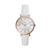 FOSSIL質感時尚羅馬玫瑰金皮帶腕錶/白色ES4579