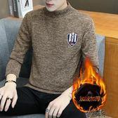 秋冬半高領毛衣男 修身加絨加厚打底衫中領針織衫毛衫線衫