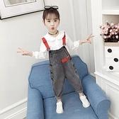 女童吊帶褲春裝兒童正韓牛仔褲小女孩時髦褲子洋氣童裝潮