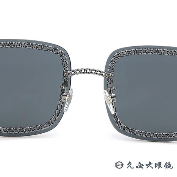 CHANEL 香奈兒 太陽眼鏡 4244 (鐵灰) 鍊環 方框 附眼鏡鏈 3鏈款 墨鏡 久必大眼鏡