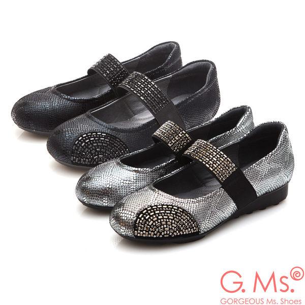 G.Ms. 燙鑽坡跟系列-蛇紋羊皮瑪莉珍A款*銀色