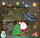 壁貼【橘果設計】歡樂耶誕聖誕(靜電款) DIY組合壁貼 牆貼 壁紙 室內設計 裝潢 無痕壁貼 佈置