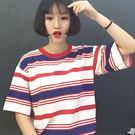 【V2518】shiny藍格子-原宿風潮.紅藍條紋圓領短袖上衣