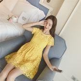 FINDSENSE G5 韓國時尚 修身 鏤空 短袖 蕾絲 高腰 連身裙 及膝裙