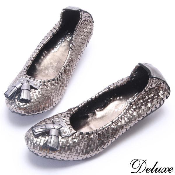 【Deluxe】全真皮民族風流蘇手工編織包鞋(灰)
