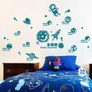 太空貼紙兒童墻貼寶寶臥室墻畫太陽系行星幼兒園墻面裝飾貼畫紙【韓衣舍】