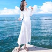 泰國普吉島沙灘裙春裝2020新款仙女裙白色顯瘦連衣裙海邊度假長裙
