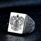 《 QBOX 》FASHION 飾品【RBR8-353】精緻個性戰鬥民族老鷹浮雕鑄造鈦鋼戒指/戒環
