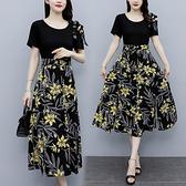 假兩件洋裝涼感衣L-5XL短袖系帶氣質修身假兩件大碼裝胖mm顯瘦媽媽連身裙NC16-B.胖丫