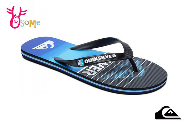 QUIKSILVER MOLOKAI HIGHLINE SLAB 成人男款 拖鞋 海灘 人字拖 夾腳拖 K9490#藍色◆OSOME奧森鞋業