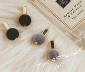 純色硬質絨球可愛耳環灰色黑色酒紅~100 元~~BeautyBox ~L1512S100