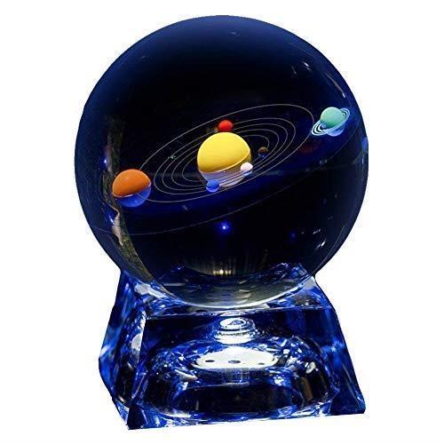 【日本代購】八大行星水晶球80 mm 太陽系行星水晶球發光帶支架彩虹杯墊水晶禮物