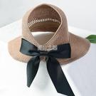 沙灘帽 春夏百搭太陽帽女空頂帽網紅遮陽帽大帽檐防曬帽子涼帽時尚可折疊