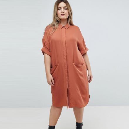 【南紡購物中心】《D Fina 時尚女裝》【大尺碼】捲袖落肩 口袋裝飾百搭洋裝 (長版上衣)