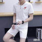 大尺碼 男士棉麻套裝 中國風復古短袖t恤 短褲兩件式休閒男裝 CJ4102『易購3c館』
