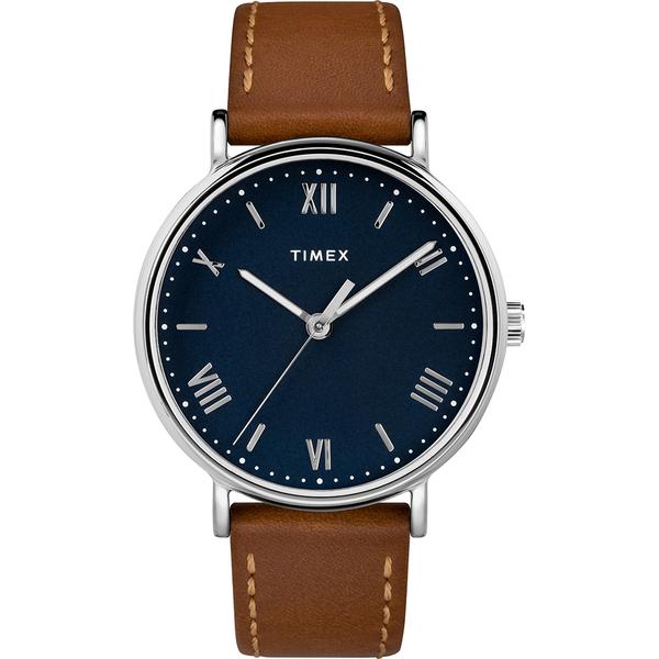 【TIMEX】天美時 風格系列 羅馬字手錶(藍/棕色 TXTW2R63900)
