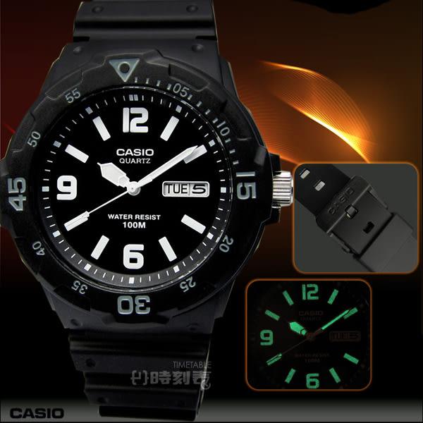 【時刻表‧CASIO_手錶】潛水勇者‧簡潔時標超強防水腕錶_黑/灰〈MRW-200H-1B2〉