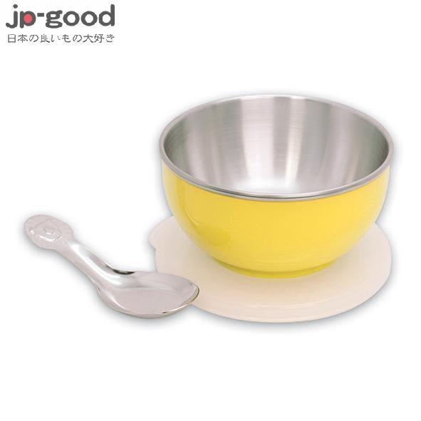 genki bebi 元氣寶寶 彩色不鏽鋼隔熱寶寶碗(附蓋+湯匙) - 黃色