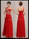 (45 Design  )   7天到貨  花朵元素韓版禮服敬酒服新娘禮服單肩長款短裙修身演出晚禮服
