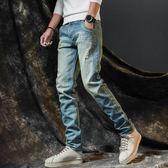 牛仔褲 破洞修身直筒男士褲子韓版潮流男生寬松薄款