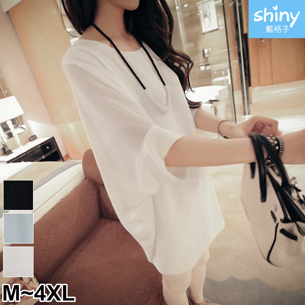 【V2891】shiny藍格子-韓范甜美.純色蝙蝠寬鬆中長款雪紡衫