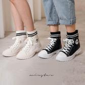 現貨-MIUSTAR 兩線條襪套拼接高筒休閒鞋(共2色,35-39)【NG002323】
