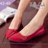 大尺碼女鞋-凱莉密碼-時尚簡約款糖果色漆皮尖頭平底鞋0.25cm(41-48偏窄)【HB223】紅色