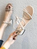 網紅涼鞋女夏季新款ins綁帶粗跟仙女風百搭一字帶羅馬鞋潮