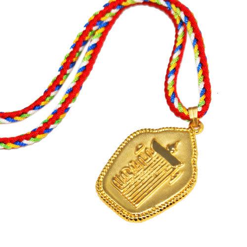 【藏傳佛教文物】時輪金剛咒牌(金色)-項鍊精飾 吊鍊 吊墜 護身符(PB-N0009)