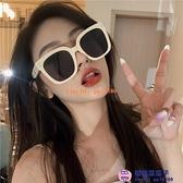 太陽鏡韓版潮偏光墨鏡女米白色方框大臉網美歐美男【櫻桃菜菜子】