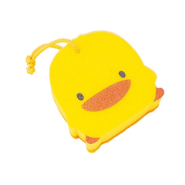 台灣製黃色小鴨造型雙層沐浴海綿(浴綿)~亦可當洗澡玩具88074