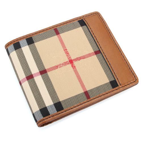 BURBERRY Horseferry格紋證件短夾(棕褐色)080101
