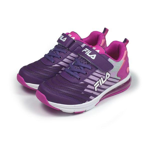 《FILA》兒童 MD氣墊慢跑鞋(內含高支撐鞋墊) 紫色 3-J405T-291