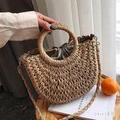 新款手提包編織包復古手提包度假旅行沙灘包草編包女包 LR9783【Sweet家居】