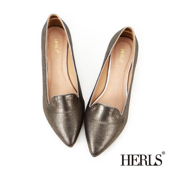 樂福鞋-HERLS 內真皮 簡約亮面尖頭樂福鞋-綠色