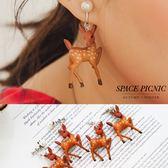 耳環 Space Picnic|珍珠梅花鹿造型垂墜耳環(現+預)【C18122002】