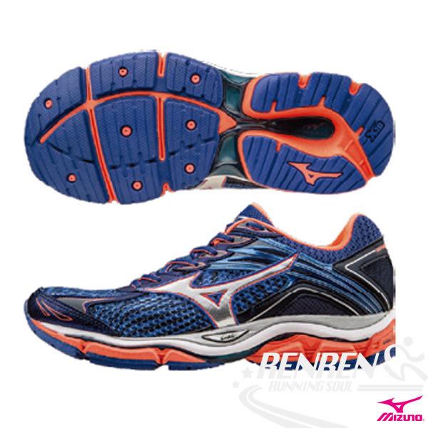 MIZUNO美津濃 女緩衝型慢跑鞋WAVE ENIGMA 6(W) (藍*橘) 全腳掌吸震