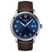 TISSOT天梭紳士XL經典石英手錶-藍x咖啡/41mm T1164101604700