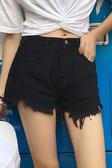 韓版女毛邊高腰闊腿牛仔單寧短褲女