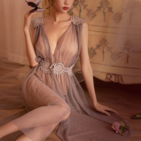 睡衣-女神領域 -iVenus 性感透膚網紗誘惑綁帶長版開衩透氣禮物丁字褲睡衣 玩美維納斯 平價睡衣