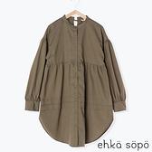 「Winter」層次壓褶細節長版開襟上衣 (提醒 SM2僅單一尺寸) - Sm2
