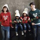 紅綠聖誕民族風長袖親子裝情侶裝