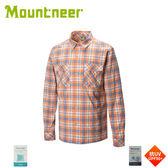 【Mountneer 山林 男 彈性抗UV格子長袖襯衫《橘》】31B05/防曬長袖/夏季襯衫/抗UV/格紋襯衫