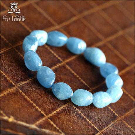 海藍寶手鏈 水潤天藍色 遂意形