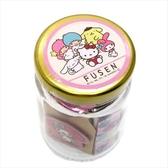 〔小禮堂〕Sanrio大集合 造型自黏便利貼組附收納罐《粉金.集合》N次貼.書籤貼.置物罐 4991277-08038