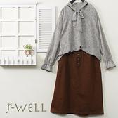 J-WELL 豹紋領口氣質上衣顯瘦裙兩件組(組合A644 9J1098灰+9J1092褐)