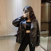 皮衣外套 春秋2020新款網紅黑色pu皮衣外套女韓版寬鬆百搭bf機車服夾克上衣 新年慶