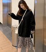 長袖洋裝中大尺碼L-4XL/8002秋冬寬鬆中長款慵懶風假兩件拼接斑紋衛衣裙連身裙F40681號公館